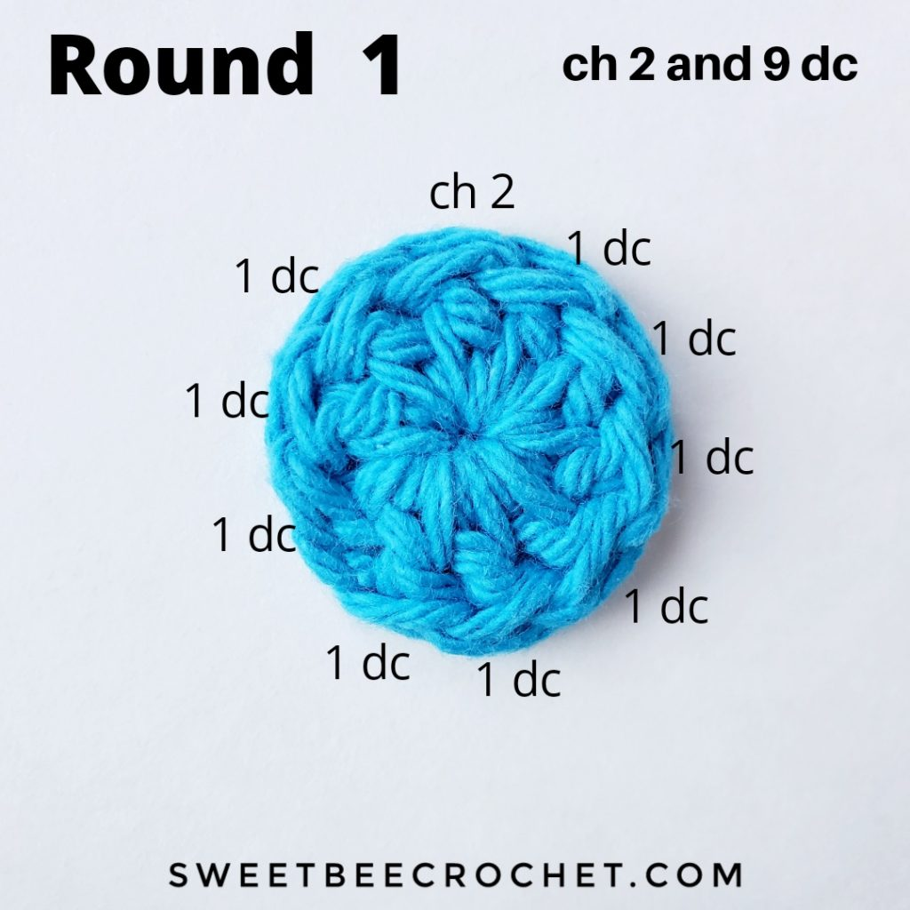 Crochet coaster with stitch placement instructions.