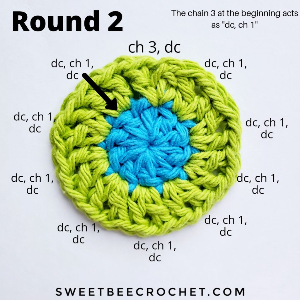 Round 2 of crochet coaster with stitch placement instructions