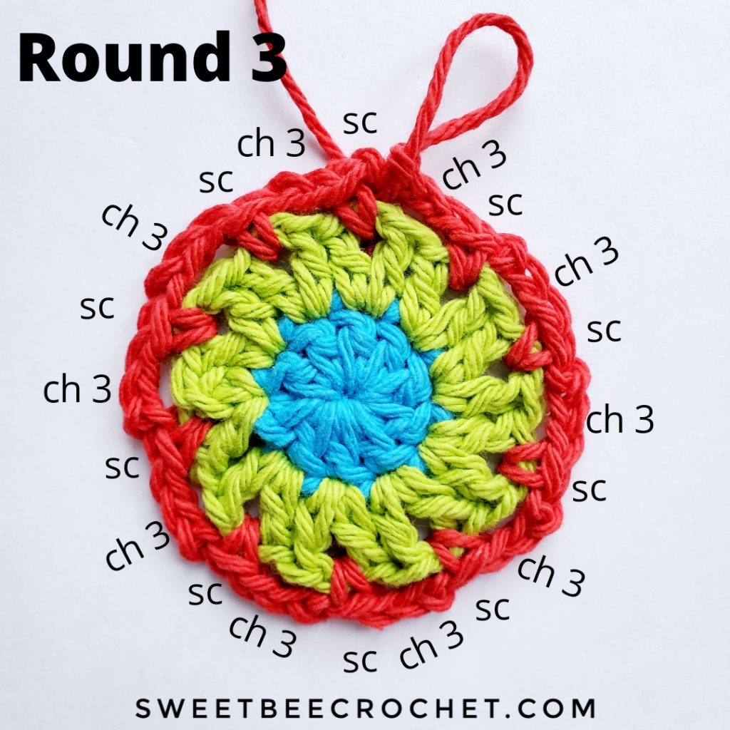 Round 3 of crochet coaster with stitch placement instructions
