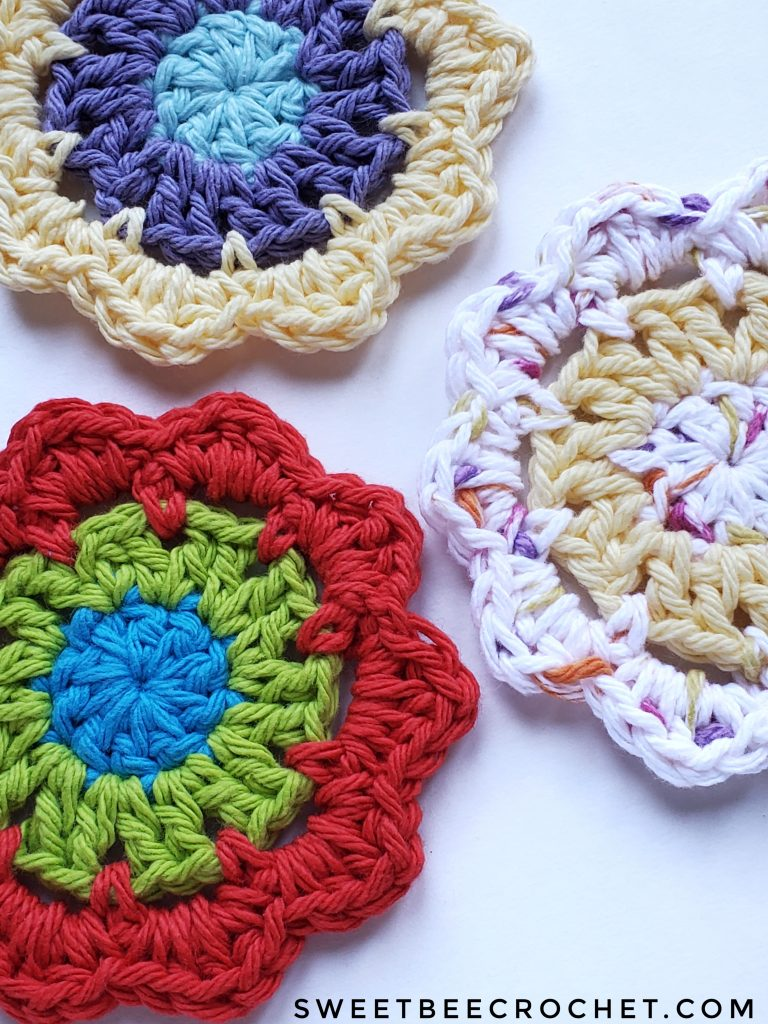 3 crochet coasters in various colours.